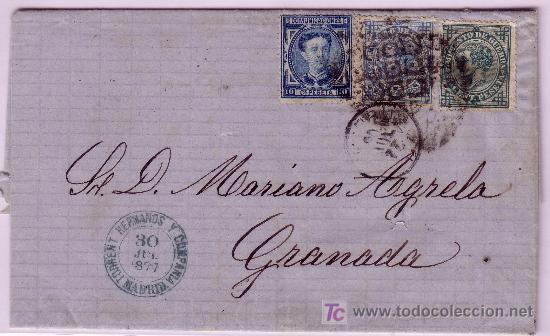 CARTA DE MADRID A GRANADA, FRANQUEADA CON LOS SELLOS Nº 175 Y 183 Y 184. (Sellos - España - Alfonso XII de 1.875 a 1.885 - Cartas)
