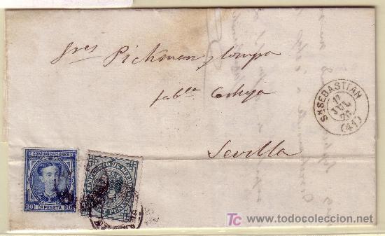 CARTA DE SAN SEBASTIAN A SEVILLA, FRANQUEADA CON LOS SELLOS Nº 175 Y 183. (Sellos - España - Alfonso XII de 1.875 a 1.885 - Cartas)