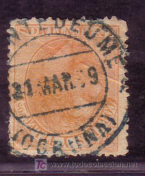 CORUÑA.- MATASELLO FECHADOR DE PUENTEDEUME SOBRE SELLO 210 TIPO II (Sellos - España - Alfonso XII de 1.875 a 1.885 - Usados)