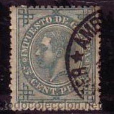 Sellos: CANTABRIA.- MATASELLO FECHADOR REDONDO AMBULANTE SANTANDER SOBRE SELLO DE ALFONSO XII 194 . Lote 13309861