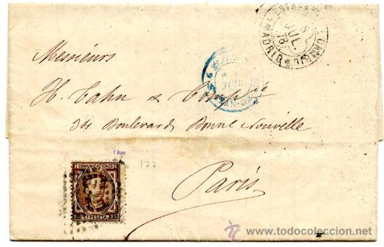 CARTA CIRCULADA DE MADRID A PARIS (FRANCIA), SELLO ALFONSO XII Nº 177 25 CTS. CASTAÑO DE 1876. (Sellos - España - Alfonso XII de 1.875 a 1.885 - Cartas)