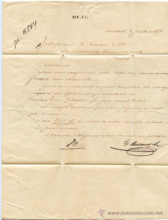 Sellos: CARTA CIRCULADA DE MADRID A PARIS (FRANCIA), SELLO ALFONSO XII Nº 177 25 CTS. CASTAÑO DE 1876. - Foto 2 - 27370360