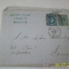 Sellos: SOBRE-CARTA. - 1877-CIRCULADA, - MADRID LORCA, LLEVA DOS SELLOS Y VARIOS CUÑOS. Lote 27950509