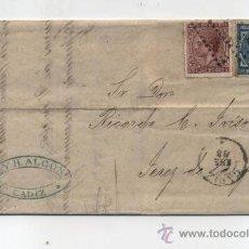 Sellos: CARTA DE CADIZ A JEREZ DE LA FRONTERA DE 24 ENERO 1878. FRANQUEADO CON SELLOS 175 Y 188A,MATA-. Lote 27860699