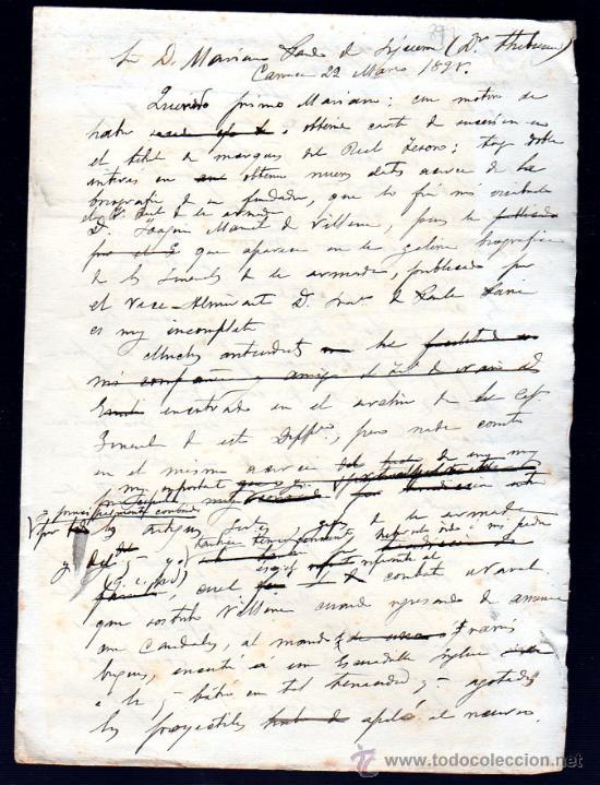 CARTA A MARIANO PARDO DE FIGUEROA (1828-1918), DOCTOR THEBUSSEM, DE SU PRIMO. MEDINA SIDONIA, 1895 (Sellos - España - Alfonso XII de 1.875 a 1.885 - Cartas)