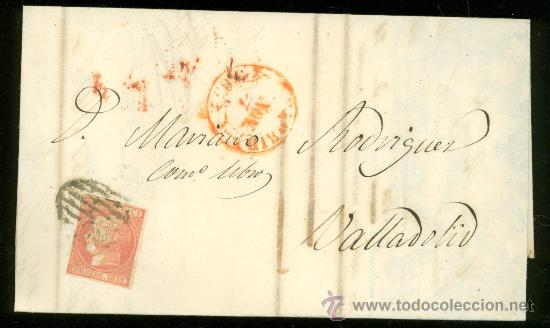 CARTA SELLO CUATRO CUARTOS. PARRILLA NEGRA, FECHADOR ROJO, MADRID-CÁDIZ (Sellos - España - Alfonso XII de 1.875 a 1.885 - Cartas)