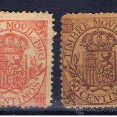 Sellos: ALFONSO XII TIMBRE MOVIL 1903 EDIFIL FISCALES NUEVOS(*). Lote 29983652