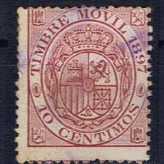 Sellos: ALFONSO XII TIMBRE ESPECIAL MOVIL 1897 EDIFIL FISCALES 10 CTS . Lote 29987923
