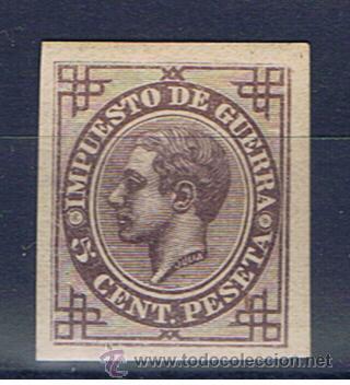 ENSAYOS DE COLOR ALFONSO XII 1876 EDIFIL 183 NUEVO* SIN DENTAR NO EMITIDO IMPUESTO DE GUERRA (Sellos - España - Alfonso XII de 1.875 a 1.885 - Nuevos)