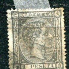 Sellos: EDIFIL 169. 1 PTS ALFONSO XII. AÑO 1875. USADO. CON FIJASELLOS Y LIGERO ÓXIDO. Lote 30204075