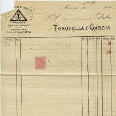 Sellos: FACTURA MANRES 1882 CON SELLO DE ALFONSO XII. Lote 30963123
