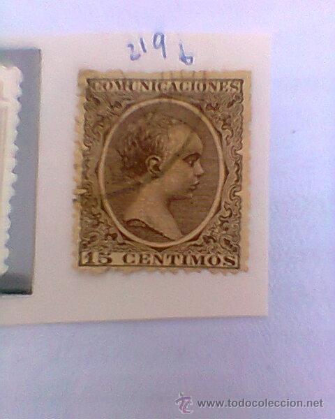 SELLO DE ALFONSO XII. 1889-99. 15 CTS. (219 CATALOGO) (Sellos - España - Alfonso XII de 1.875 a 1.885 - Usados)