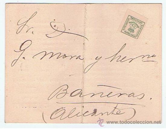 TARJETA CON EDIFIL 173 CIRCULADO BARCELONA BANYERES PUBLICIDAD FILTROS INGLESES PARA FABRICA D PAPEL (Sellos - España - Alfonso XII de 1.875 a 1.885 - Cartas)