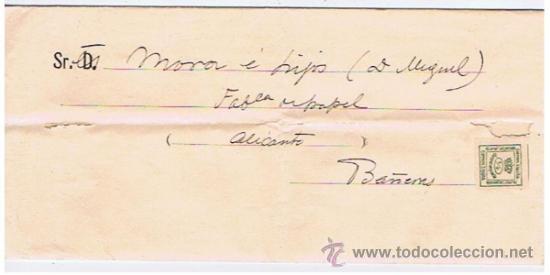 CIRCULADO 1907 CON EDIFIL 173 CIRCULADO MADRID BANYERES CON DOCUMENTO ASOCIACION DE TRABAJADORES (Sellos - España - Alfonso XII de 1.875 a 1.885 - Cartas)