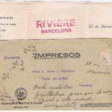 Francobolli: IMPRESO CIRCULADO 1916 ENTRE BARCELONA I BANYERES. Lote 32626923