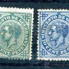 Sellos: EDIFIL 183 Y 184 NUEVOS SIN GOMA. IMPUESTO DE GUERRA 1876. EL DE 10 CTS MANCHA POSTERIOR.. Lote 33984905