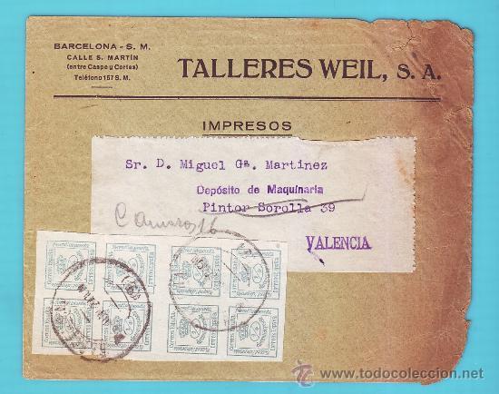 8 SELLOS EDIFIL 173 DE LUJO ESPAÑA 1876 EN SOBRE PUBLICITARIO TALLERES WEIL S. A. BARCELONA (Sellos - España - Alfonso XII de 1.875 a 1.885 - Cartas)