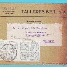 Sellos: 8 SELLOS EDIFIL 173 DE LUJO ESPAÑA 1876 EN SOBRE PUBLICITARIO TALLERES WEIL S. A. BARCELONA. Lote 36803656
