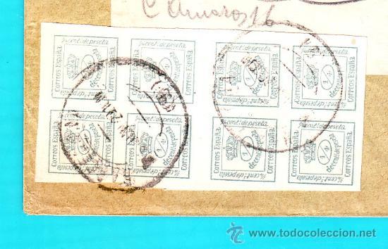 Sellos: 8 SELLOS EDIFIL 173 DE LUJO ESPAÑA 1876 EN SOBRE PUBLICITARIO TALLERES WEIL S. A. BARCELONA - Foto 2 - 36803656