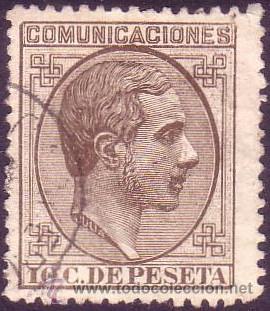 ESPAÑA. (CAT. 192). 10 CTS. MAGNÍFICO CENTRAJE. MUY RARO EN ÉSTA CALIDAD. PIEZA DE LUJO. (Sellos - España - Alfonso XII de 1.875 a 1.885 - Usados)