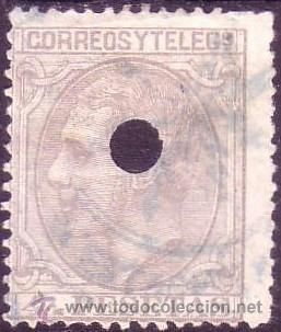 ESPAÑA. (CAT. 208T). 4 PTAS. TALADRO DE TELÉGRAFOS Y MARCA AZUL. BONITO. (Sellos - España - Alfonso XII de 1.875 a 1.885 - Usados)