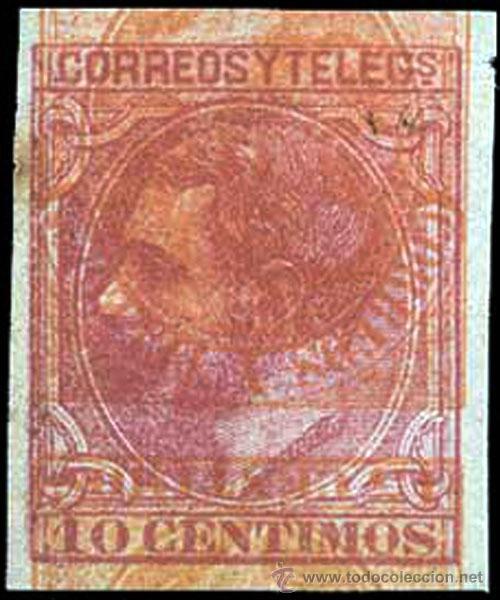 1879 * MACULATURA DEL 10 CTS. SIN DENTAR CON DOBLE IMPRESION INVERTIDA DEL 15 CTS. AMARILLO 1882 (Sellos - España - Alfonso XII de 1.875 a 1.885 - Nuevos)