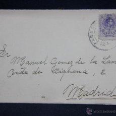 Timbres: SOBRE CON SELLO DE 15 CENTIMOS ALFONSO XII MATASELLADA EN ZARAGOZA CUÑO DE MADRID. Lote 39414689