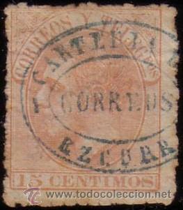 ESPAÑA. (CAT. 210). 15 CTS. MAT. AZUL * CARTERIA DE/CORREOS/EZCURRA * NAVARRA. MUY BONITO Y RARO. (Sellos - España - Alfonso XII de 1.875 a 1.885 - Usados)