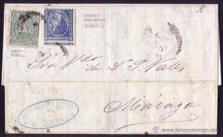 ESPAÑA.(CAT. 164/GRAUS 215-I).1876. CARTA DE BARCELONA A MÁLAGA.10 C. Y 5 C. FALSO POSTAL. MUY RARA. (Sellos - España - Alfonso XII de 1.875 a 1.885 - Cartas)