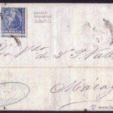 Sellos: ESPAÑA.(CAT. 164/GRAUS 215-I).1876. CARTA DE BARCELONA A MÁLAGA.10 C. Y 5 C. FALSO POSTAL. MUY RARA.. Lote 27188757