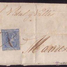 Sellos: ESPAÑA.(CAT.154A,164).1876.CARTA DE STA.COLOMA DE QUERALT (TARRAGONA) A MANRESA.MAT. CRUZ A PLUMA.RR. Lote 25063307