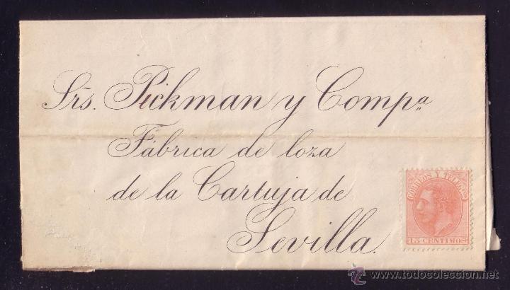 ESPAÑA. (CAT. 210).1885. CARTA DE MADRID A SEVILLA.15 CTS. SIN MAT. POR DESCUIDO. LLEGADA. MUY RARA. (Sellos - España - Alfonso XII de 1.875 a 1.885 - Cartas)
