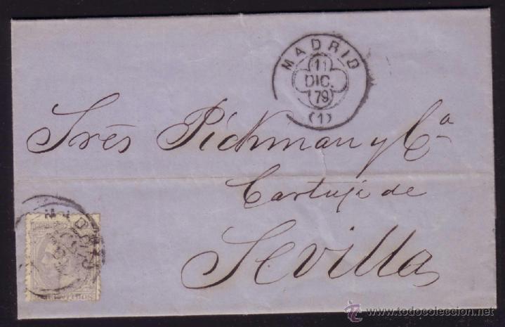 ESPAÑA. (CAT. 204). 1879. CARTA DE MADRID A SEVILLA. 25 CTS. MAT. TRÉBOL MADRID. LLEGADA. BONITA. (Sellos - España - Alfonso XII de 1.875 a 1.885 - Cartas)