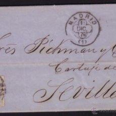 Sellos: ESPAÑA. (CAT. 204). 1879. CARTA DE MADRID A SEVILLA. 25 CTS. MAT. TRÉBOL MADRID. LLEGADA. BONITA.. Lote 40668816