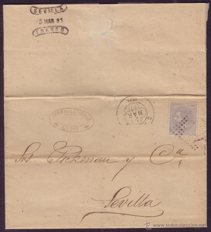 ESPAÑA.(CAT.204).1881.CARTA DE CÁDIZ A SEVILLA.25 CTS.DORSO *SEVILLA/FRANCO*. MAGNÍFICA Y MUY RARA. (Sellos - España - Alfonso XII de 1.875 a 1.885 - Cartas)