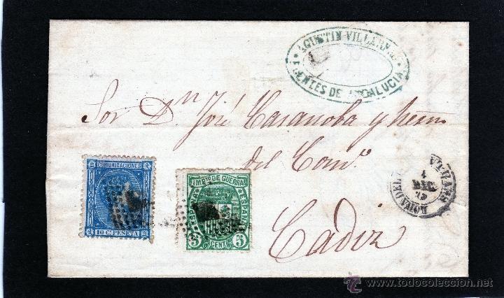 CARTA DE LORA DEL RIO (SEVILLA) A CADIZ FRANQUEADA CON SELLOS EDIFIL 164 154 IMPUESTO DE GUERRA (Sellos - España - Alfonso XII de 1.875 a 1.885 - Cartas)