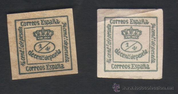 2 SELLOS DE 1/4, SIN USAR, CON GOMA, EDIFIL 173, CORONA REAL (Sellos - España - Alfonso XII de 1.875 a 1.885 - Nuevos)