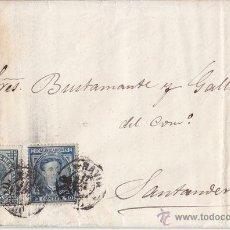 Sellos: CARTA ENTERA DE NAVIA (ASTURIAS) A SANTANDER. 1876. SELLO DE 10 CTS Y DE 5 CTS IMPUESTO DE GUERRA.. Lote 41414600