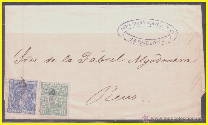 1875 ALFONSO XII, CARTA DE BARCELONA A REUS, EDIFIL Nº 154 Y 164 (Sellos - España - Alfonso XII de 1.875 a 1.885 - Cartas)