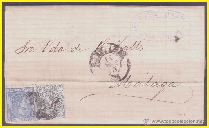 1875 ALFONSO XII, CARTA DE BARCELONA A MÁLAGA, EDIFIL Nº 154 Y 164 (Sellos - España - Alfonso XII de 1.875 a 1.885 - Cartas)