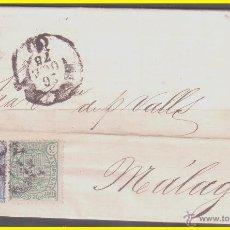 Sellos: 1875 ALFONSO XII, CARTA DE BARCELONA A MÁLAGA, EDIFIL Nº 154 Y 164. Lote 42236224