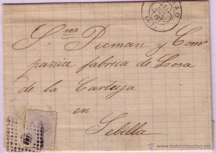 CARTA DE BILBAO A SEVILLA, CON SELLO Nº 204 MATASELLOS ROMBO CON CIRCULO RAYADO. (Sellos - España - Alfonso XII de 1.875 a 1.885 - Cartas)
