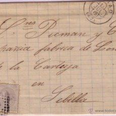 Sellos: CARTA DE BILBAO A SEVILLA, CON SELLO Nº 204 MATASELLOS ROMBO CON CIRCULO RAYADO.. Lote 42527786