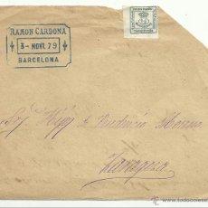 Sellos: FRONTAL CIRCULADO 1879 DE BARCELONA A ZARAGOZA CON EDIFIL 173A. Lote 43464719