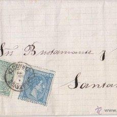Sellos: CARTA ENTERA. 1876 DE CALATAYUD (ZARAGOZA) A SANTANDER. MUY BONITA. IMPUESTO DE GUERRA. Lote 44269811