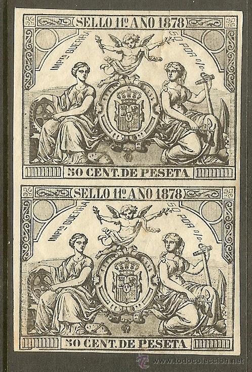 FISCALES - 2 PÓLIZAS 1878 (Sellos - España - Alfonso XII de 1.875 a 1.885 - Usados)