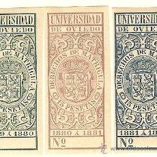 Sellos: FISCALES - DERECHOS DE MATRÍCULA. UNIVERSIDAD DE OVIEDO 1879-82 3 SELLOS. Lote 44983893