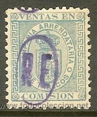 FISCALES - IMPUESTO DEL TABACO. 1877 COMPAÑIA ARRENDATARIA DE TABACOS SOBRECARGA -RE- (Sellos - España - Alfonso XII de 1.875 a 1.885 - Usados)