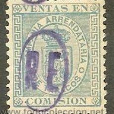 Sellos: FISCALES - IMPUESTO DEL TABACO. 1877 COMPAÑIA ARRENDATARIA DE TABACOS SOBRECARGA -RE-. Lote 45003315
