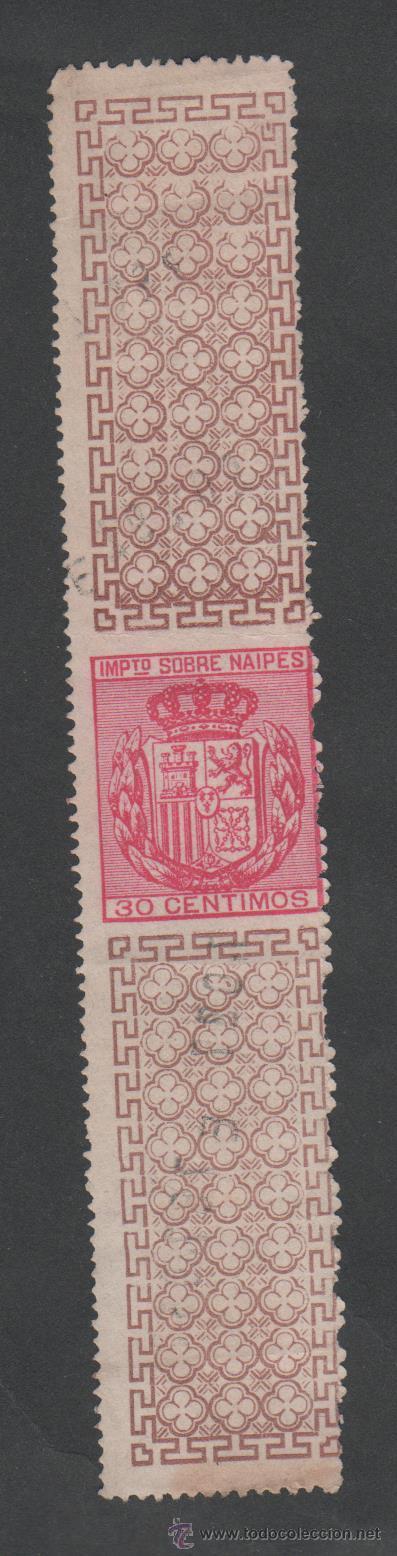 0524 FISCAL . 1880. IMPUESTO SOBRE NAIPES. 30 CENT SIN GOMA ALEMANY Nº 1 (Sellos - España - Alfonso XII de 1.875 a 1.885 - Nuevos)
